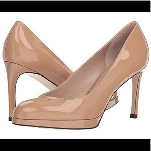 STUART WEITZMAN -BEATRIX PATENT TAN HEELS PUMPS